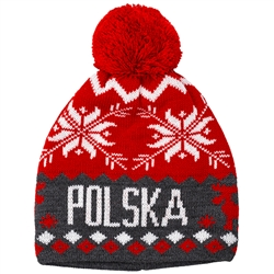 Fine Knit Red/White And Grey Polska Winter Cap - Czapka Zimowa